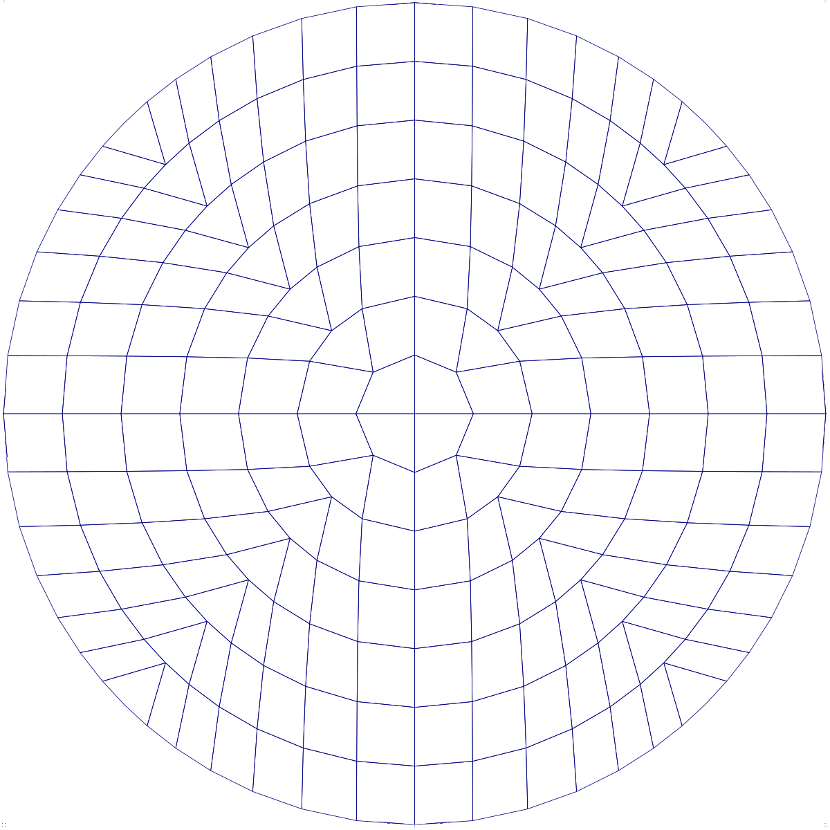logically rectangular mesh deformed to almost spherical